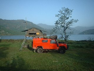 Camping by the lake in Pokhara